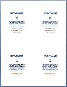 Invitation Word Template 4 per Page