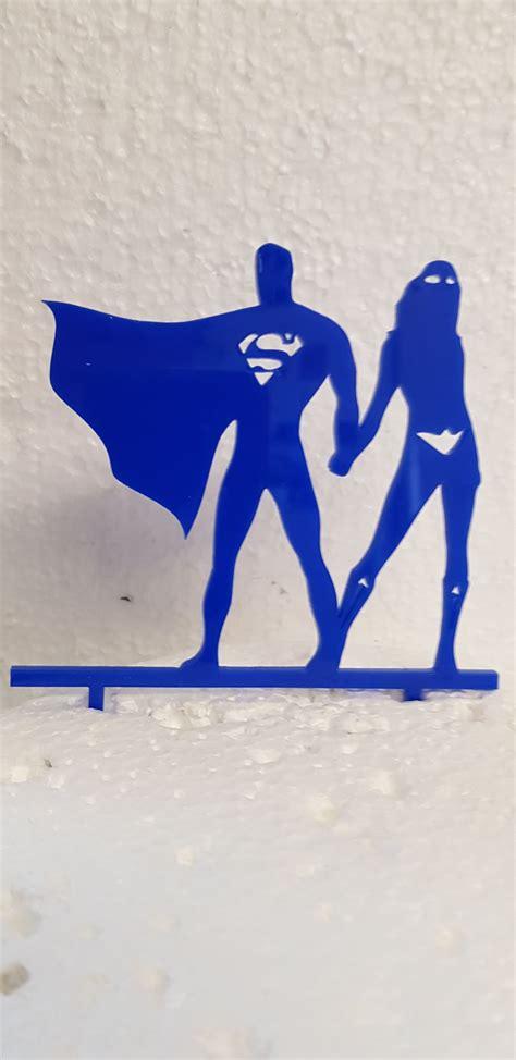 superman   woman acrylic cake topper
