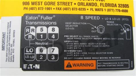 8 speed ll overdrive shift pattern diagram eaton fuller transmission p n 20465