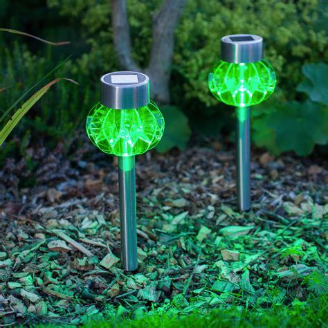 2 Green Led Stainless Steel Solar Stake Lights
