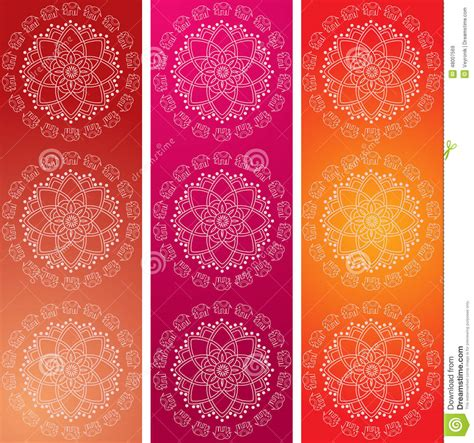 colorful indian elephant mandala banners stock vector