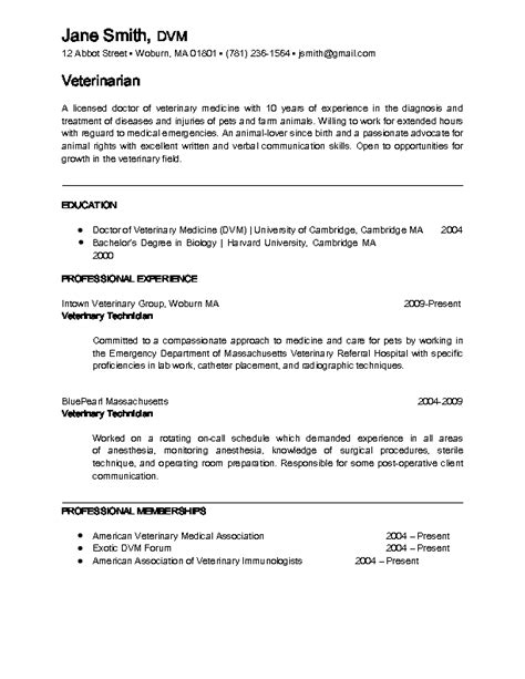 Exles Of Veterinarian Resumes by Veterinarian Resume Berathen