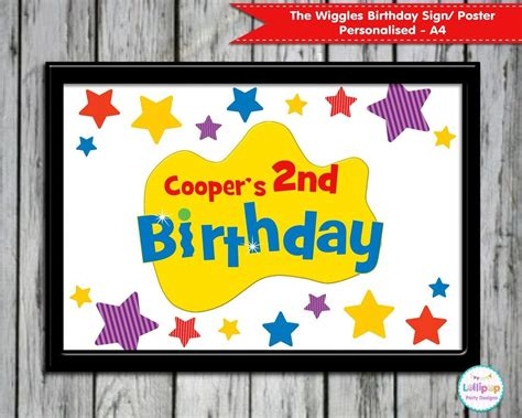 wiggles personalised birthday sign poster  sign