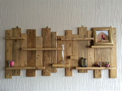 rustic wall shelf pallet wall mounted shelf unit rustic and handmade from