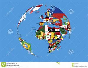 World Globe Europe,Africa And Asia Flags Map Stock ...