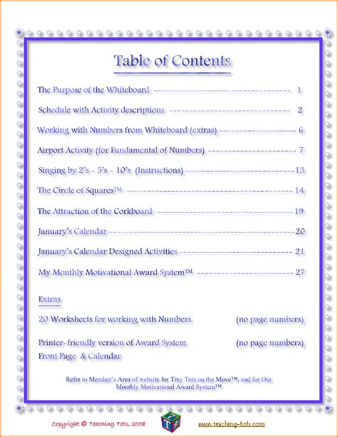 table  content template teknoswitch