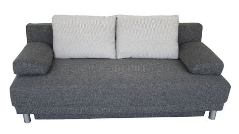 Grey Plush Textured Fabric Modern Sofa Bed Convertible W