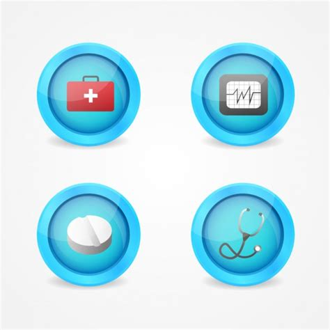 Medical Buttons Design Vector  Free Download
