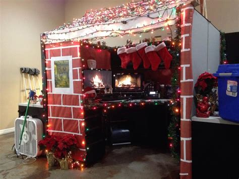 christmas cabin for best decorated cubicle contest at my