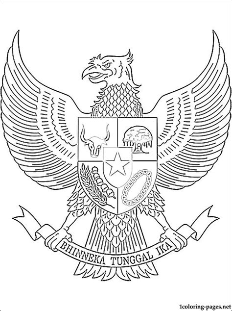 indonesia coat  arms coloring page coloring pages