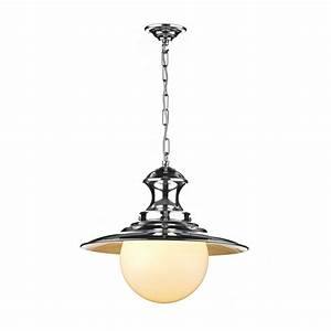 Station lamp single chrome ceiling pendant light on chain
