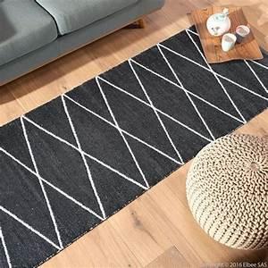 tapis de couloir en plastique 75 x 200 cm flatad noir With tapis de couloir