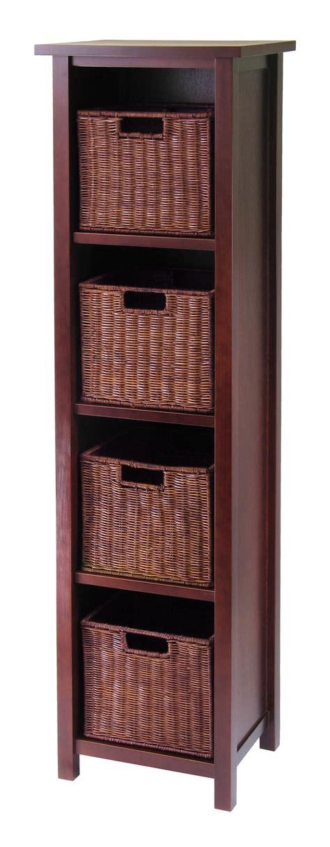 storage shelf with baskets milan 5pc storage shelf with baskets cabinet and 4 small