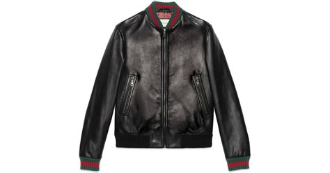 Gucci Leather Jacket With Web In Black For Men