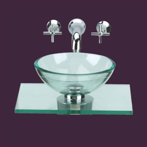 Glass Sinks Clear Counter Mini Vessel Glass Sink 10891