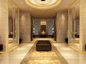 Luxury Bathroom Gold Color Interior Design - Decosee.com