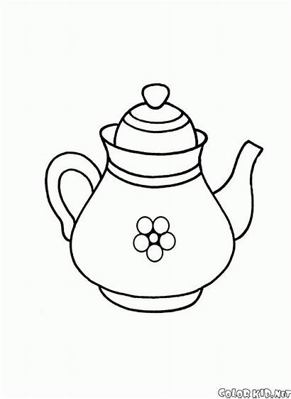 Coloring Dishes Teapot