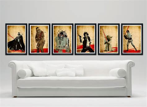 items similar to star wars poster set of 6 wall decor 11
