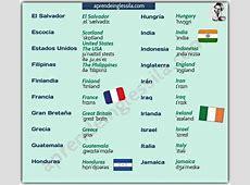 Lista de países en inglésespañol con pronunciación y PDF