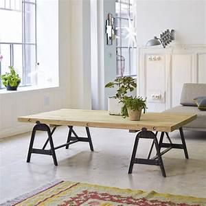 tikamoon solid recycled pine and metal coffee table With pine and metal coffee table