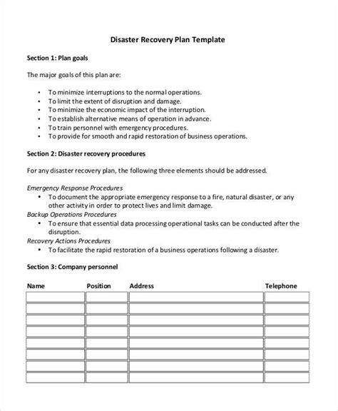 disaster plan template 5 recovery plan exles sles sle templates