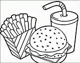 Fries Coloring Hamburger Pages Getdrawings sketch template