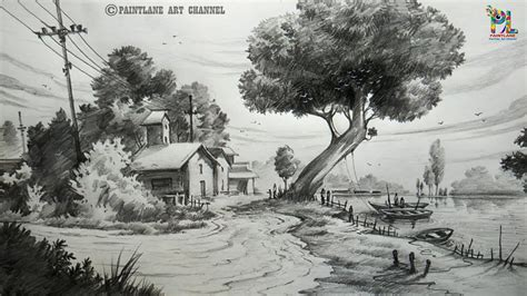 draw  landscape drawing  shading  beginners