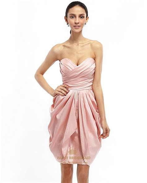 Pink Strapless Draped Taffeta Cocktail Dress With Egg