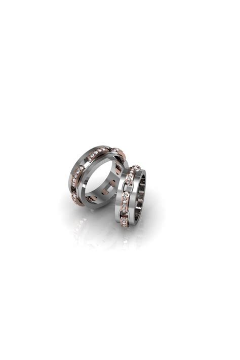 remarkable chain shaped wedding ring with diamonds