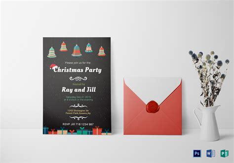chalkboard christmas invitation card design template