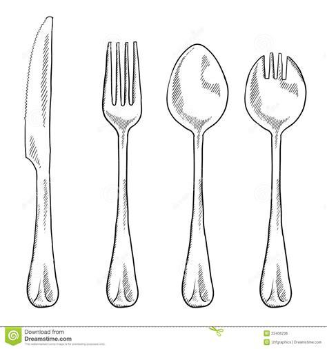 antique kitchen knives utensils drawing stock vector illustration of