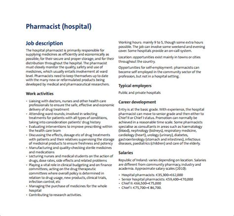 Pharmacist Description by 8 Pharmacist Description Templates Free Sle