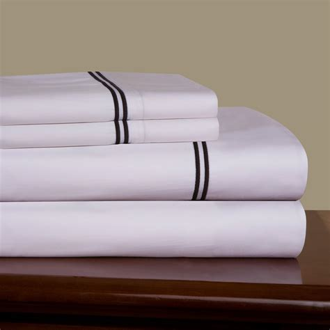 embroidered percale 300 thread count combed cotton sheet