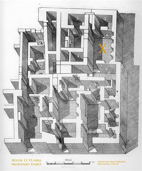 large indus house  interior room drawing mohenjo daro harappa