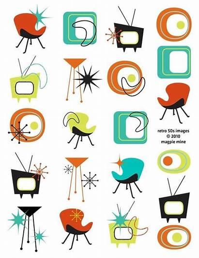 Mid Century Retro Designs 1960s 1950s Collage
