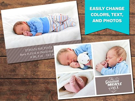 miracle birth announcement template card templates