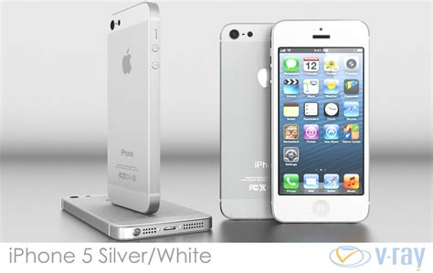 iphone 5 silver iphone 5 white silver vray 3d model max obj 3ds fbx dxf