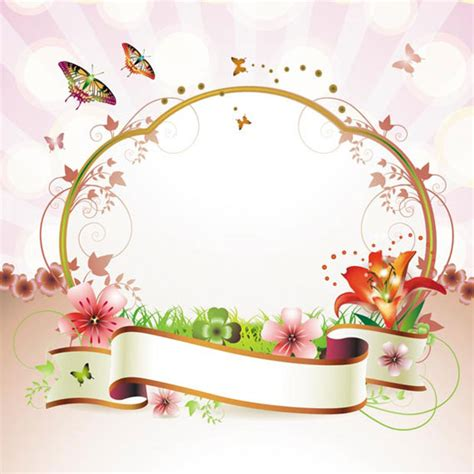 ribbon floral frame vector ai svg eps vector