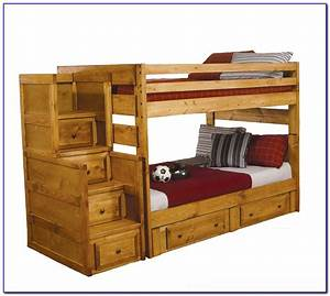 Twin, Over, Full, Bunk, Bed, With, Trundle, And, Desk