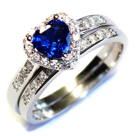 cheap silver rings sapphire promise ring with band blue cubic