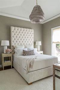 Cream and gray bedroom with grasscloth transitional