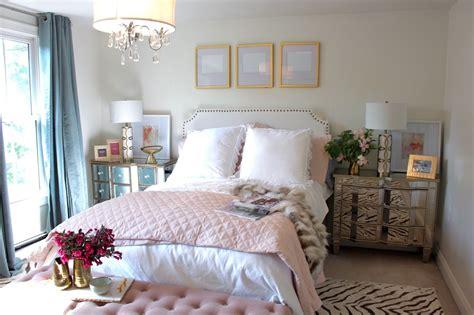 room reveal pink  gold feminine bedroom  guest room
