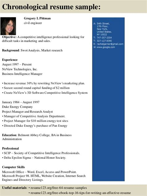 Chronological Resume Sle For Civil Engineer by Top 8 Civil Engineer Resume Sles