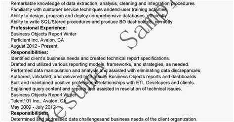 Business Objects Report Writer Resume by Resume Sles Business Objects Report Writer Resume Sle