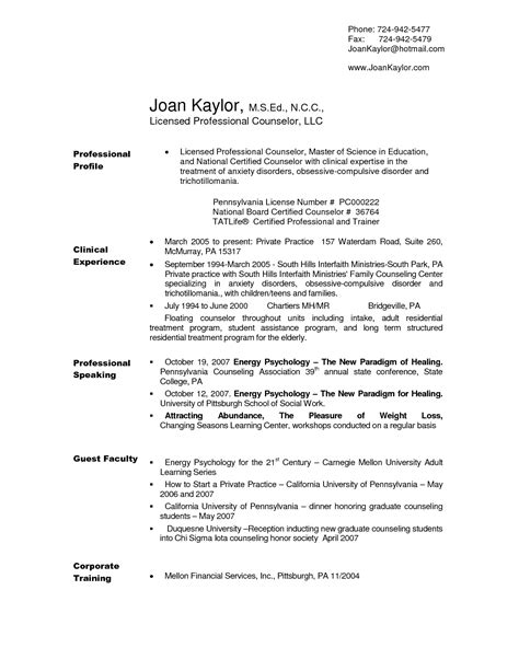 Resume For Professional Counselor by School Counselor Resume Pa Sales Counselor Lewesmr