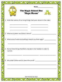 pond habitat ecosystem magic school bus quot hops home quot video response worksheet
