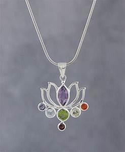 Lotus Gemstone Chakra Pendant Sterling Silver
