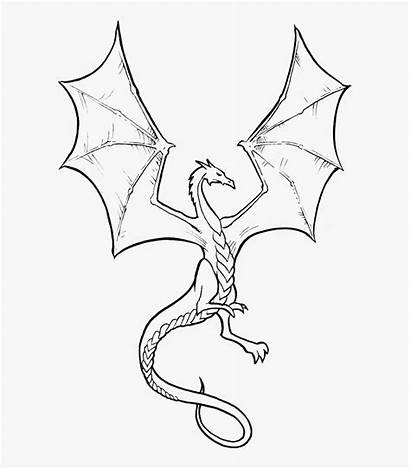 Dragon Coloring Realistic Dragons Clipart Scary Simple
