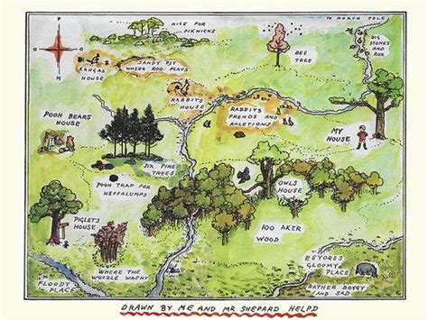 Winnie The Pooh Map,pooh Bear And Friends, Piglet