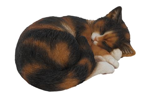 sleeping tortoiseshell cat resin garden ornament